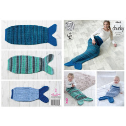 Chunky Mermaid Blankets Pattern 4865 (Sizes Baby to Adult)