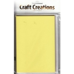 Craft Creations - 5 Pack 104 x152mm Single Fold Card - Plain Yellow Pastel