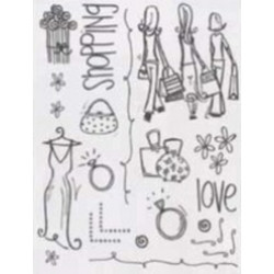 Rusty Pickle Clear Stamps - SMP49 I Love Shopping Stamps