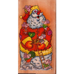 Wooden Mounted Rubber Stamp - Santa Snowman
